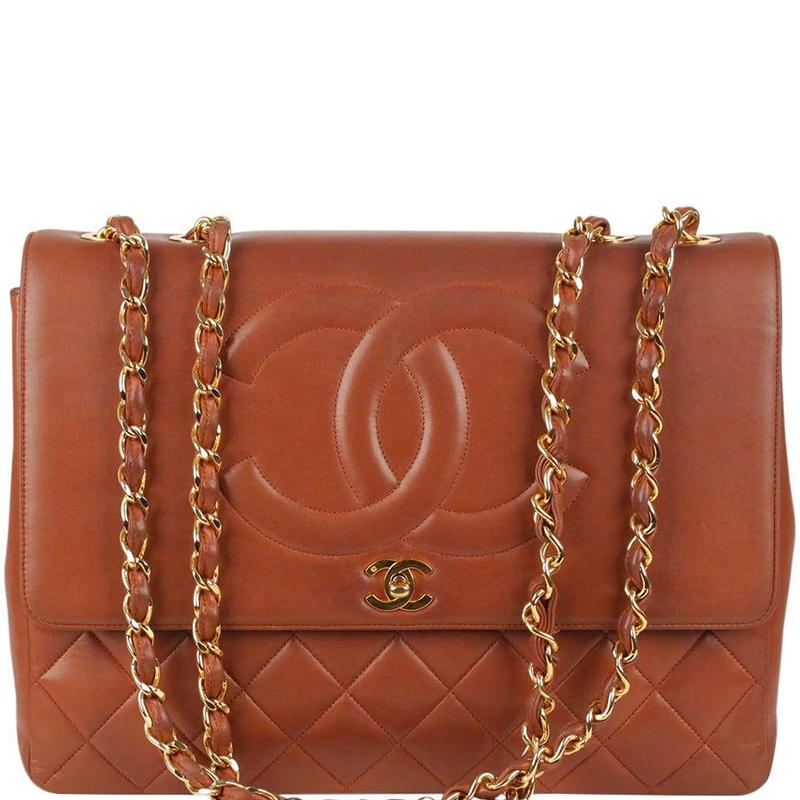 0918d176bf983f Chanel Brown Quilted Leather Cc Vintage Jumbo Xl Flap Bag in Brown ...
