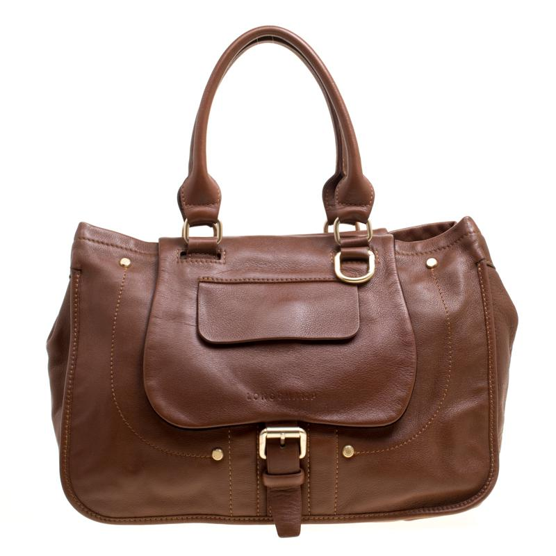 Lyst - Longchamp Leather Balzane Roots Top Handle Bag in Brown 448986d82701b