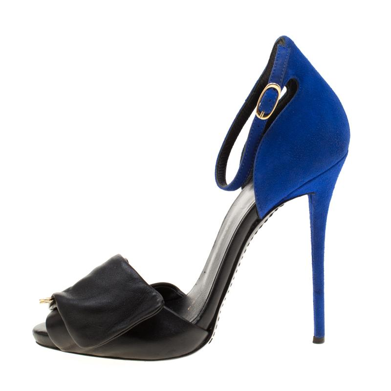 73583e89f809e Giuseppe Zanotti - Black Leather And Blue Suede Safety Pin Ankle Strap  Sandals Size 37 -. View fullscreen