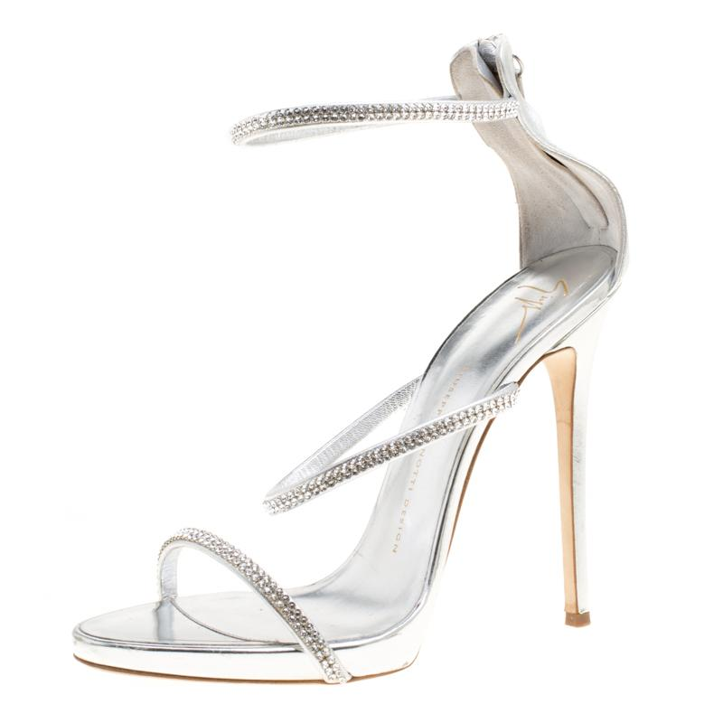 52f147e16e8 Giuseppe Zanotti. Women s Metallic Silver Leather Crystal Embellished  Harmony Ankle Strap Sandals Size 41