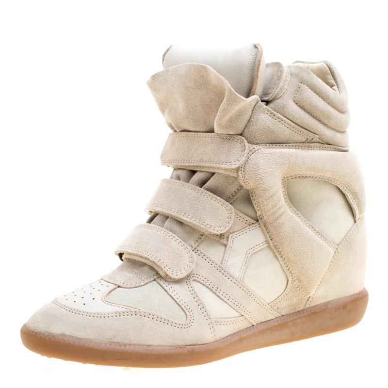 36bafc053f Lyst - Isabel Marant Grey Suede Bekett Wedge Sneakers Size 41 in Gray
