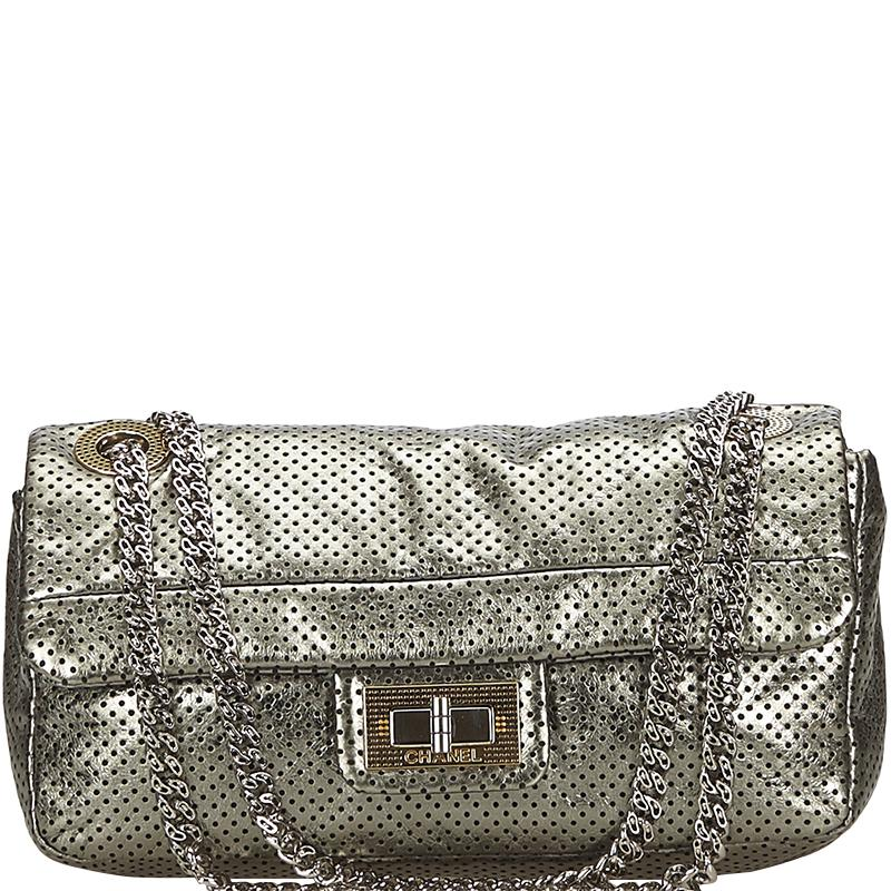 06e7f1eb8b58 Lyst - Chanel Drill Perforated Leather Classic Flap Bag in Metallic