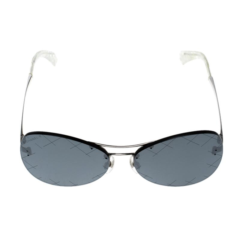 cc9e8deeb65 Lyst - Chanel  black 4218 Mirror Quilted Rimless Aviator Sunglasses ...