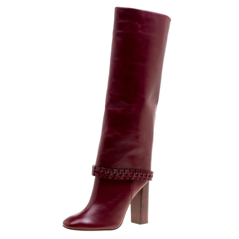 72bee4e932e Lyst - Tory Burch Leather Sarava Braid Detail Knee Boots in Red