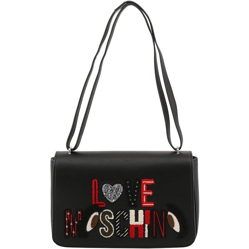 981ac321dc Lyst - Moschino Love Leather Logo Embellished Shoulder Bag in Black