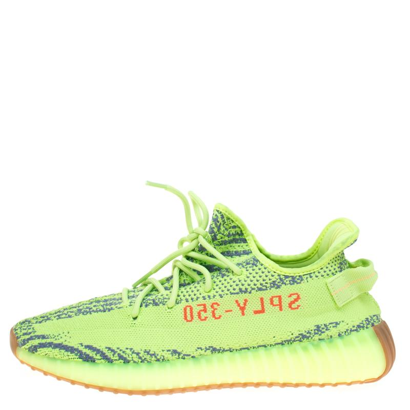 49e2a3168ce Yeezy - Gray X Adidas Semi Frozen Yellow Cotton Knit Boost 350 V2 Zebra  Sneakers Size. View fullscreen