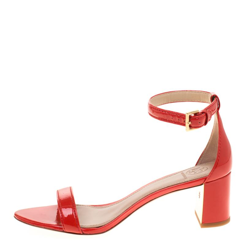 e69f6fc7b Lyst - Tory Burch Patent Leather Cecile Block Heel Ankle Strap ...