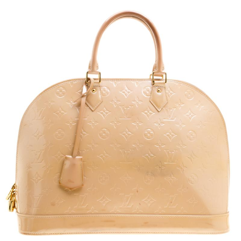 f676d62da087 Louis Vuitton Rose Florentine Monogram Vernis Alma Gm Bag in Natural ...