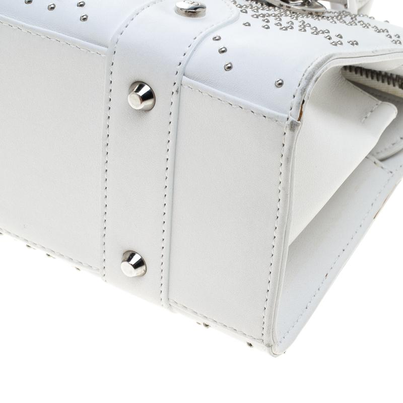 24c83c55bb5f Lyst - Dior Cannage Studded Leather Lady East West Shoulder Bag in White