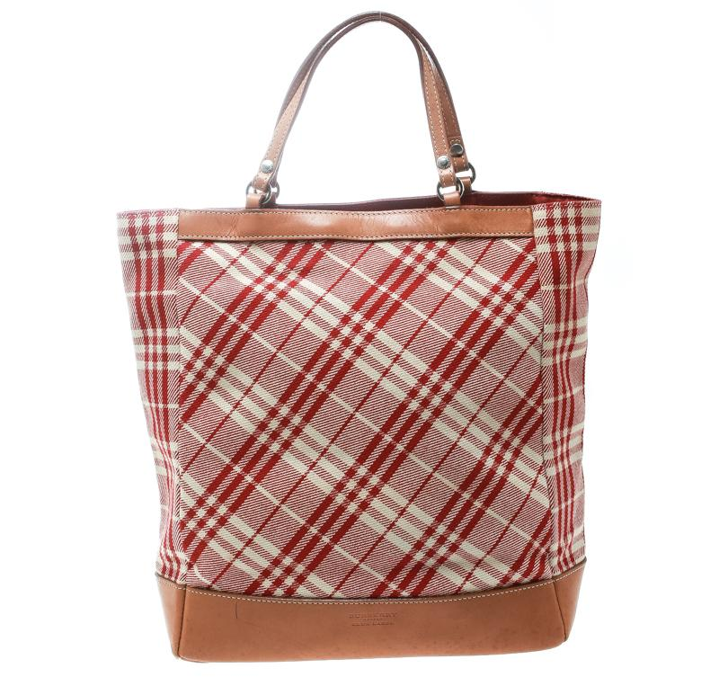 64a906be13b8 Burberry Blue Label Red brown Check Fabric Tote in Red - Lyst