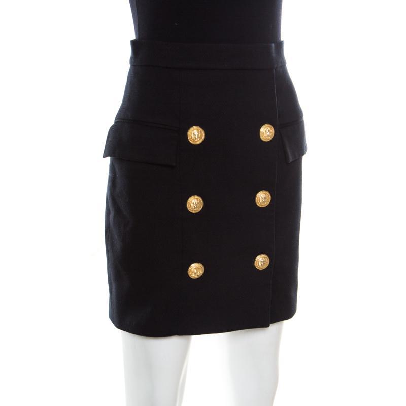 f14bb49707 Balmain - Black Textured Cotton Gold Button Detail High Waist Mini Skirt S  - Lyst. View fullscreen