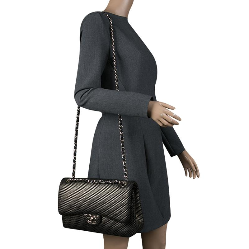 e0aa3d39fee34a Chanel Black/ Perforated Jersey Jumbo Classic Double Flap Bag in ...