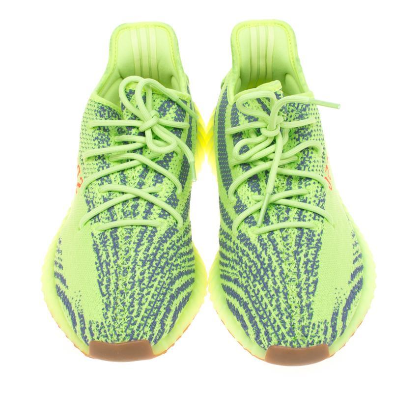 49e2a3168ce Yeezy - Gray X Adidas Semi Frozen Yellow Cotton Knit Boost 350 V2 Zebra  Sneakers Size. View fullscreen