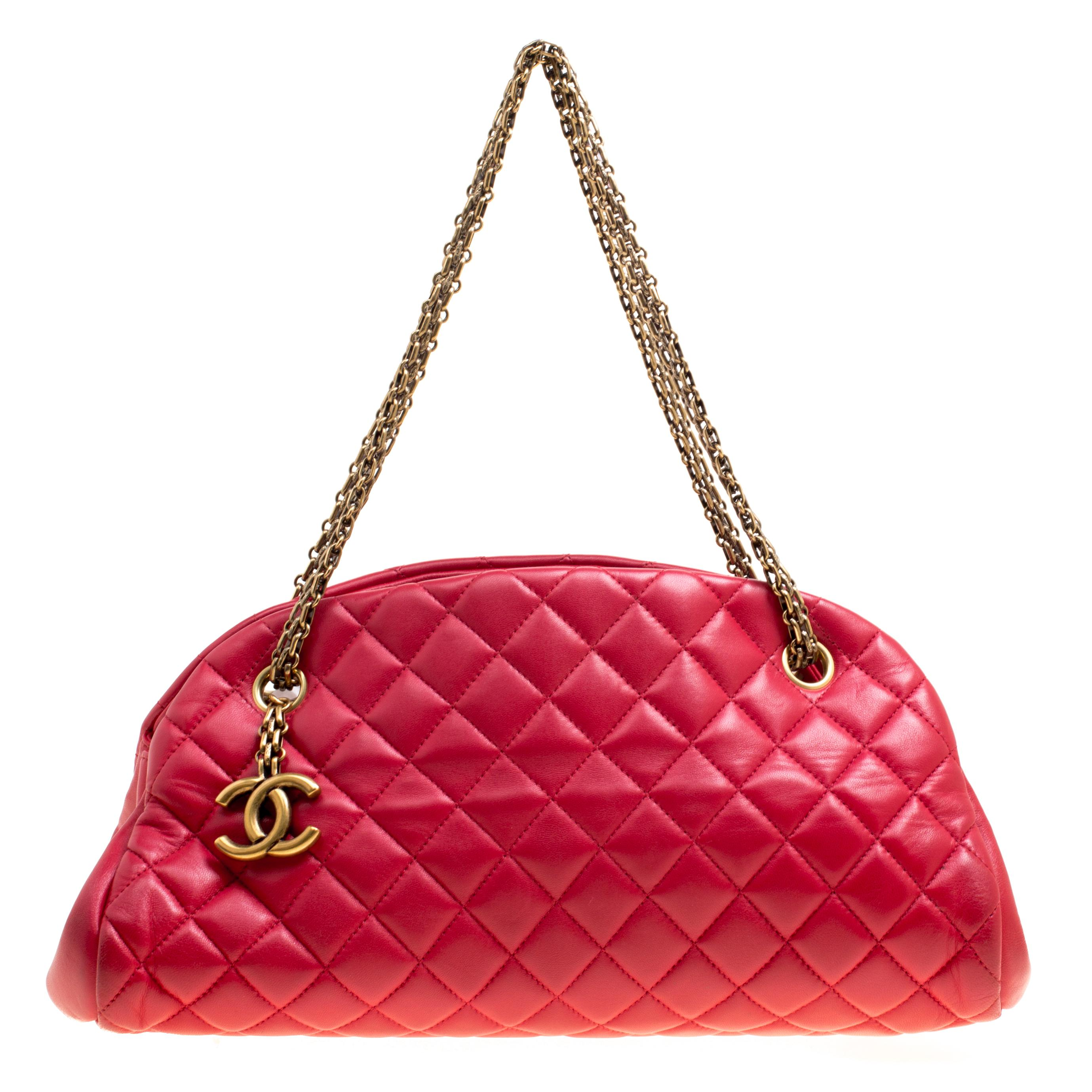 01840d3f1be4 Chanel. Women s Red Quilted Leather Medium Just Mademoiselle Bowling Bag