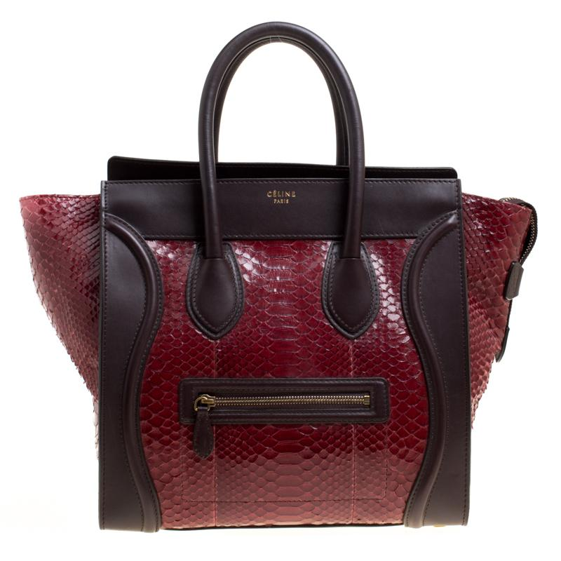 886fd6b36b25 Céline. Women s Burgundy brown Python And Leather Mini Luggage Tote