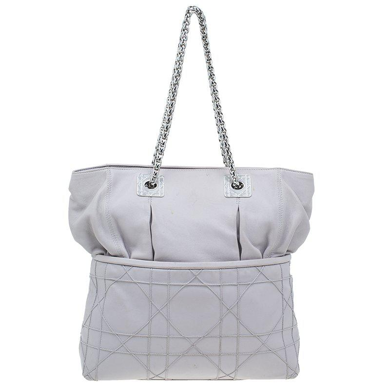 Dior Women S Gray Pale Cannage Quilted Leather So Tote Bag