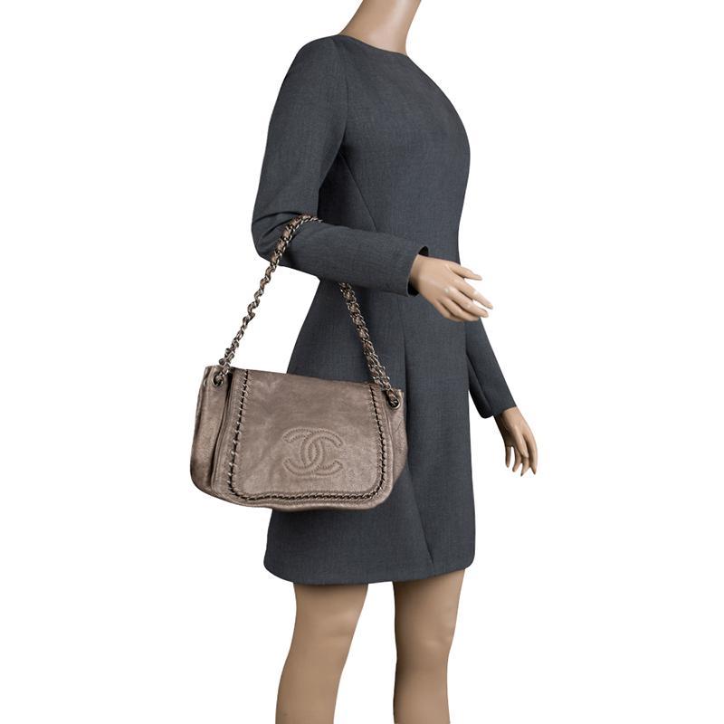e28d7d9e7938 Chanel - Metallic Bronze Leather Luxe Ligne Accordion Flap Bag - Lyst. View  fullscreen