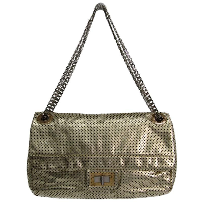 1cdbd63bf634c7 Chanel. Women's Metallic Gold Drill Perforated Leather 2.55 Reissue Classic Flap  Bag