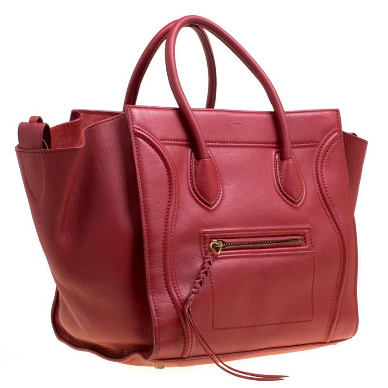 87e92e2cc5 Céline - Red Leather Medium Phantom Luggage Tote - Lyst. View fullscreen