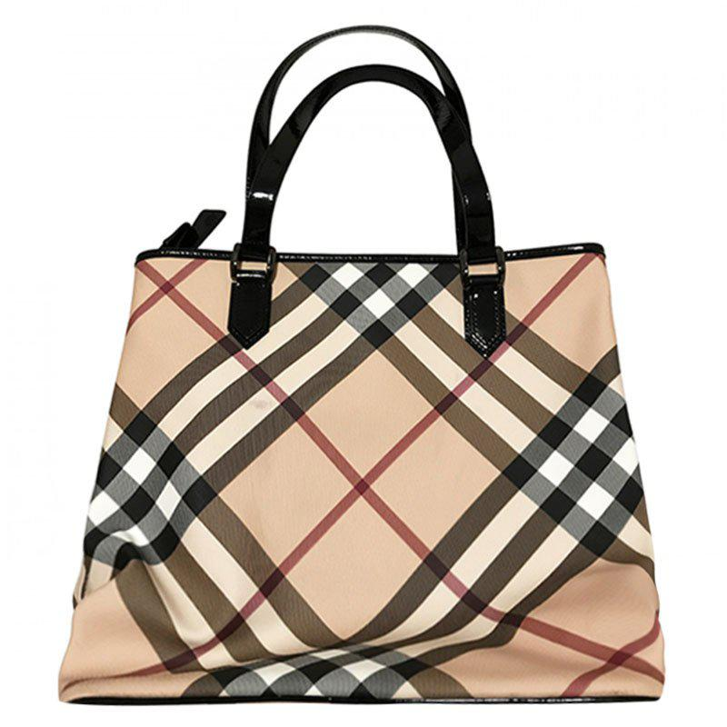 e2ea24217751 Lyst - Burberry Black Nova Check Coated Canvas Large Nickie Tote in ...