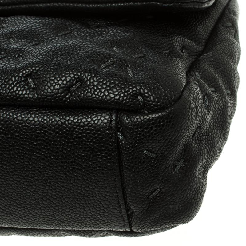 c7113427b85f Chanel Black Quilted Wild Stitch Caviar Leather Classic Flap ...