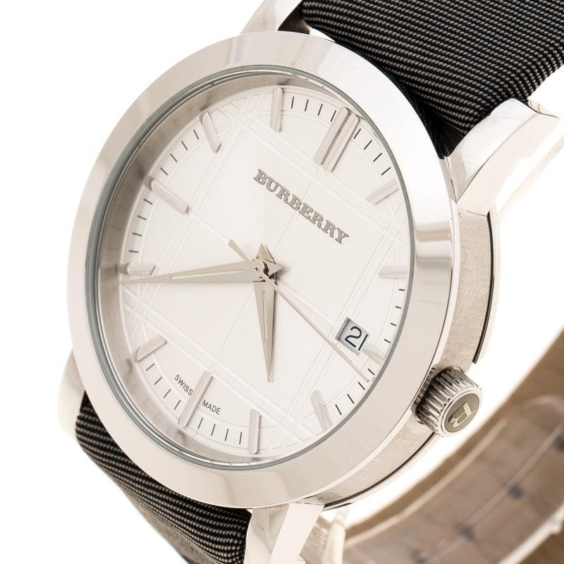 5587db98d0cc Burberry Silver Stainless Steel Nova Check Bu1378 Women s Wristwatch ...