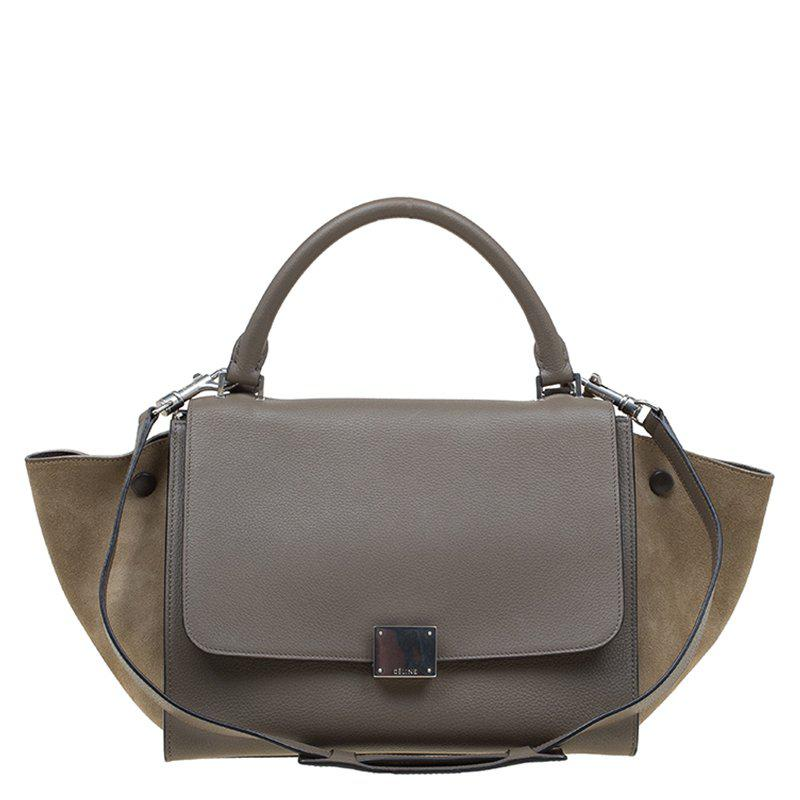 998bd5671027 Céline Leather And Suede Small Trapeze Bag in Natural - Lyst