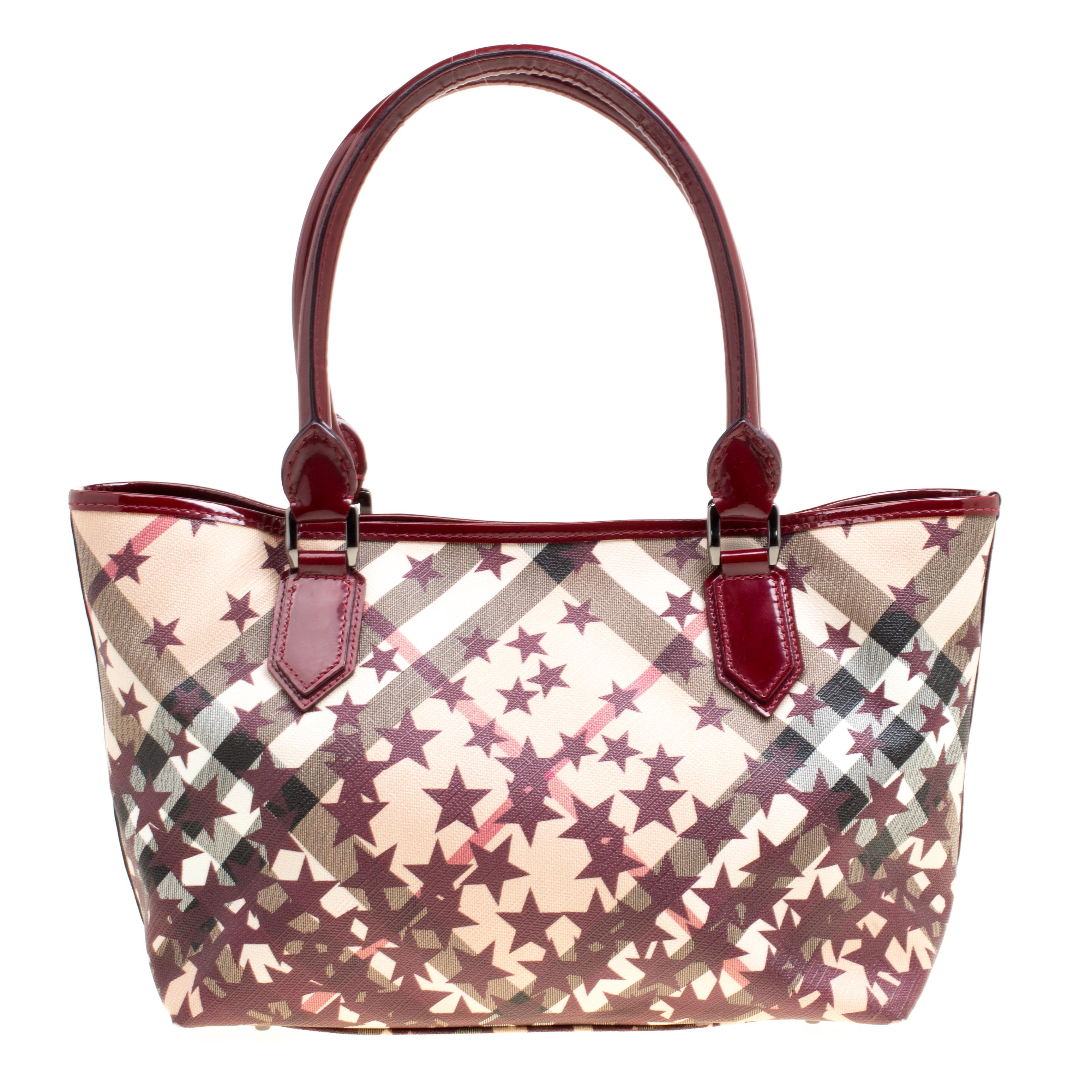 Burberry. Women s  beige Nova Check Canvas And Leather Nickie Stars Tote c696bd18a8357