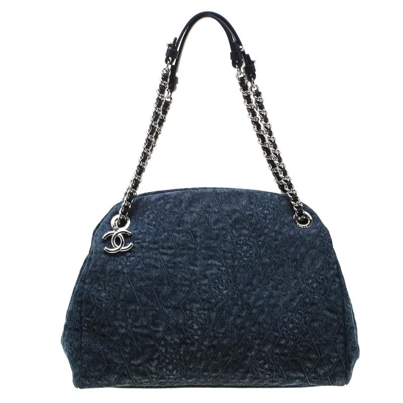 44916483 Chanel Blue Camellia Denim Large Just Mademoiselle Bowler Bag in ...