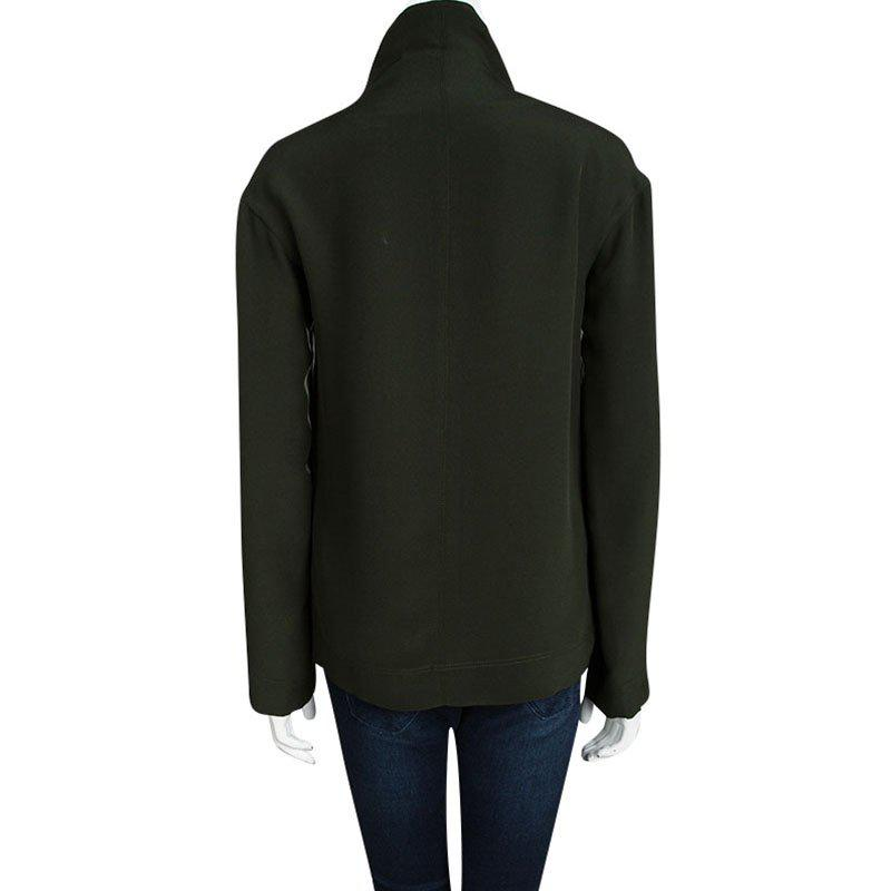 b136cc4ef312e4 Lyst - Céline Bottle Silk Zip Detail High Neck Long Sleeve Blouse S ...