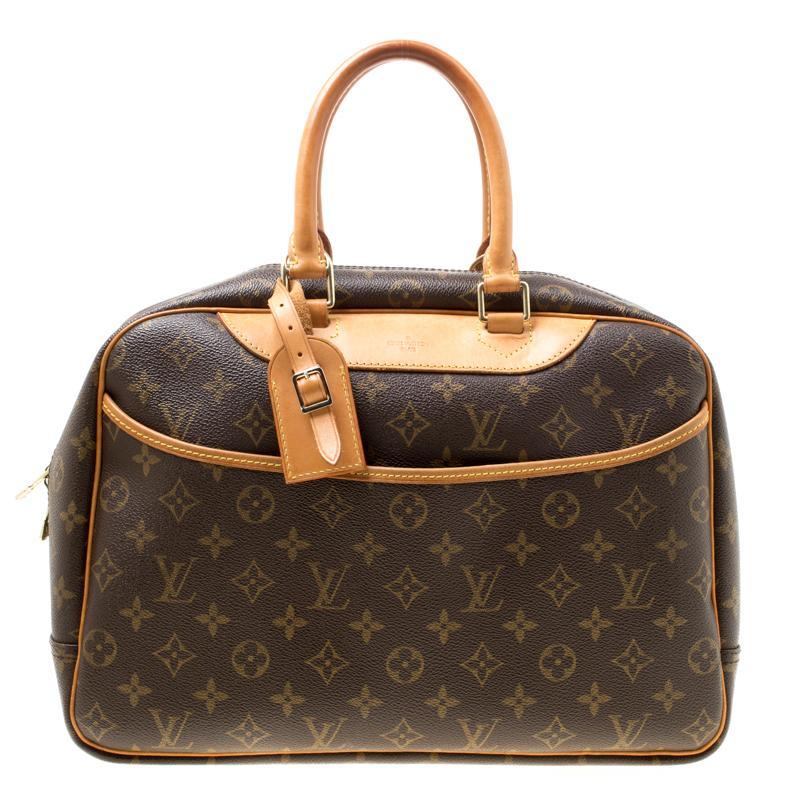 f63b2bd02ba8 Lyst - Louis Vuitton Monogram Canvas Deauville Bag in Brown