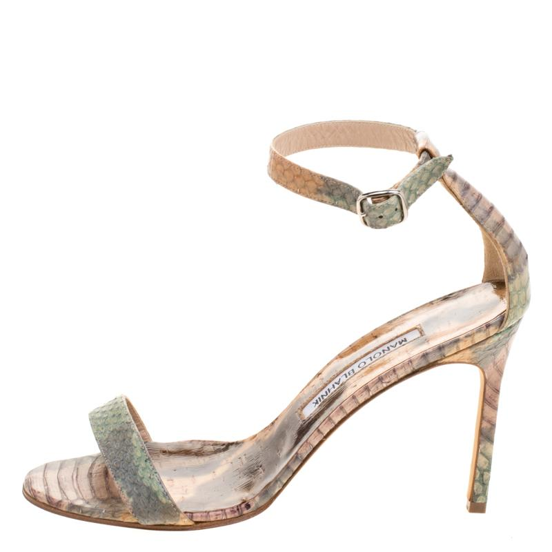 8d26f45df25 Manolo Blahnik - Multicolor Python Leather Chaos Ankle Strap Sandals -  Lyst. View fullscreen