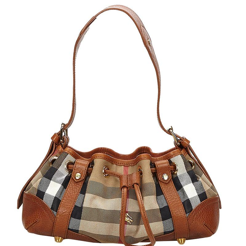 394b87540c1 Burberry Check Canvas leather Shoulder Bag in Brown - Lyst