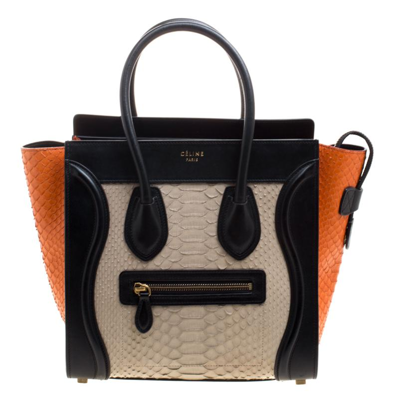 dd1a88224461 Céline Tri Color Python And Leather Micro Luggage Tote in Black - Lyst