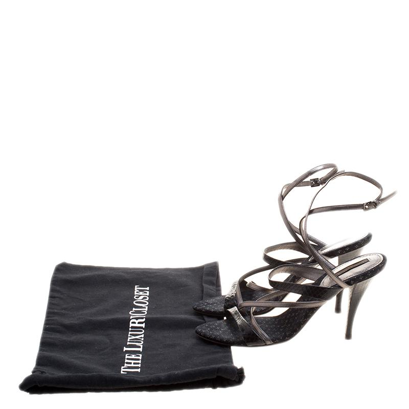 60b12c190948 Louis Vuitton - Black Python And Metallic Grey Leather Strappy Sandals Size  37 - Lyst. View fullscreen