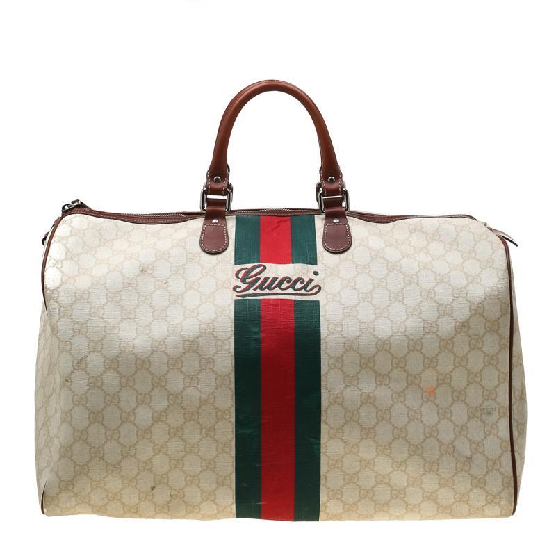 c7d22c1cec Gucci Light Beige GG Supreme Coated Canvas Web Duffle Bag in Natural ...