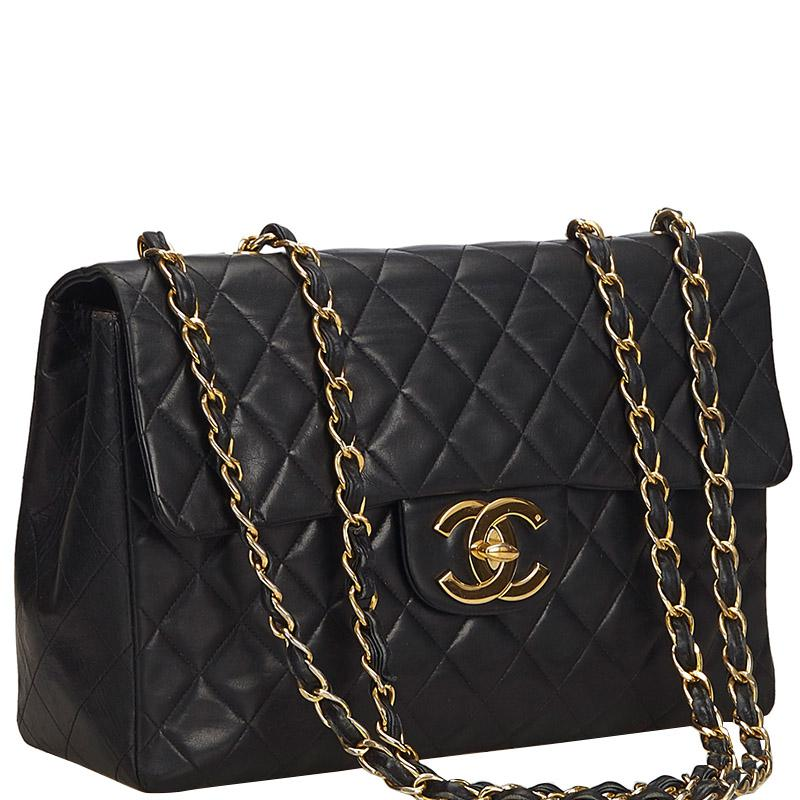 f0297acf3c05 Chanel - Black Quilted Leather Maxi Jumbo Xl Vintage Classic Flap Bag - Lyst