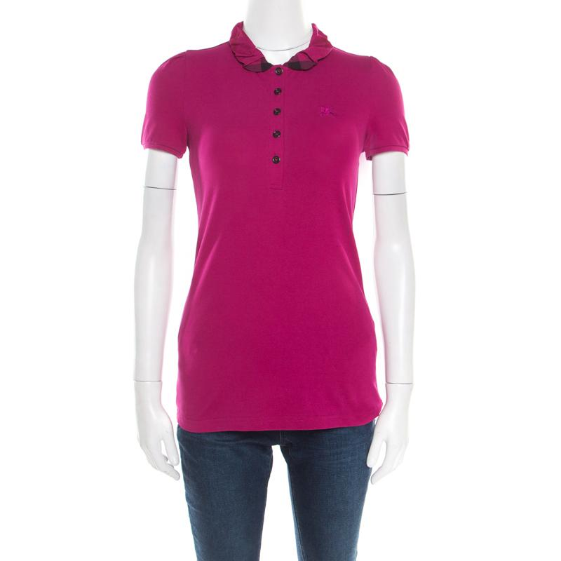 3ab7048aad7 Burberry. Women s Pink Brit Magenta Cotton House Check Collar Polo T-shirt  Xs