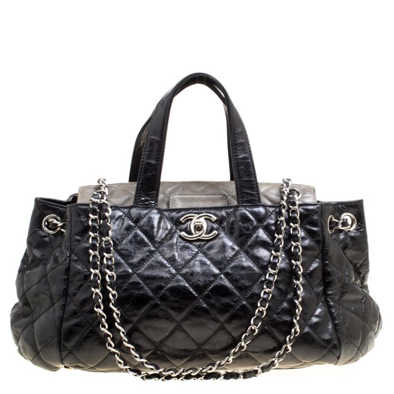 78bb2fc3650e Chanel Quilted Glazed Leather Portobello Top Handle Bag in Black - Lyst