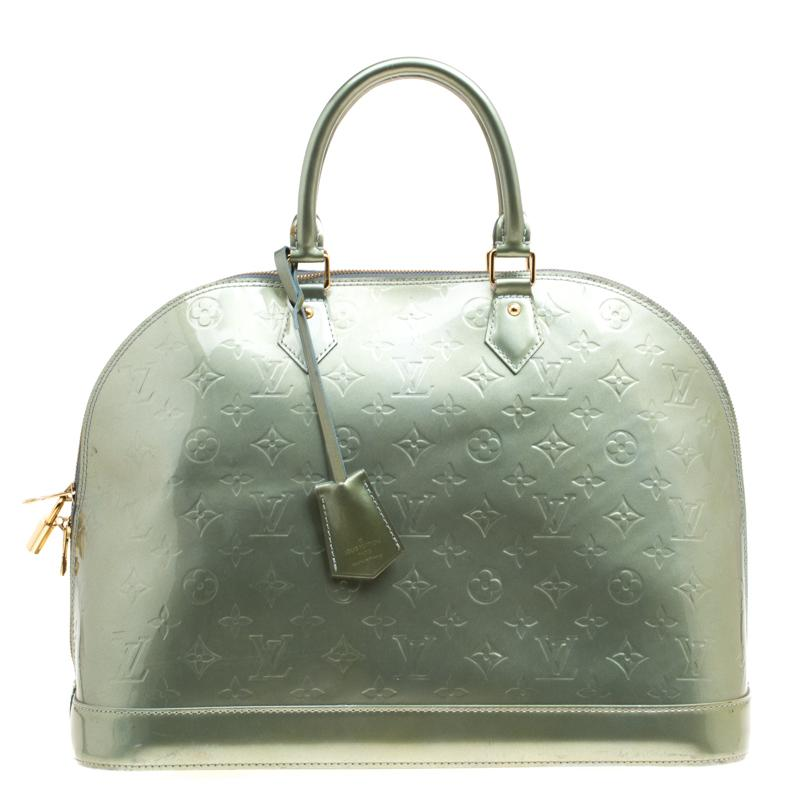 c6478780e3a8 Louis Vuitton Vert Tonic Monogram Vernis Alma Gm Bag in Green - Save ...