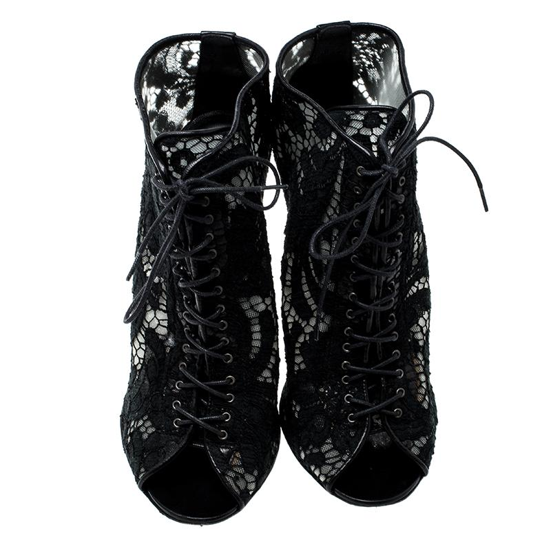 e35cb30d1a Givenchy - Black Lace Peep Toe Lace Up Ankle Boots Size 38 - Lyst. View  fullscreen