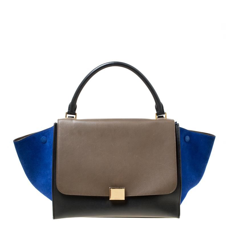 6610f6f9da1d Lyst - Céline Tri Color Leather And Suede Medium Trapeze Bag