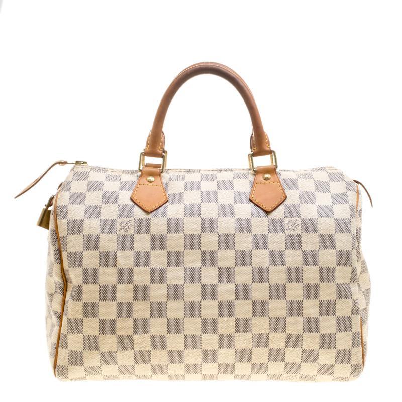 e8453a733b2e Lyst - Louis Vuitton Damier Azur Canvas Speedy 30 in Gray