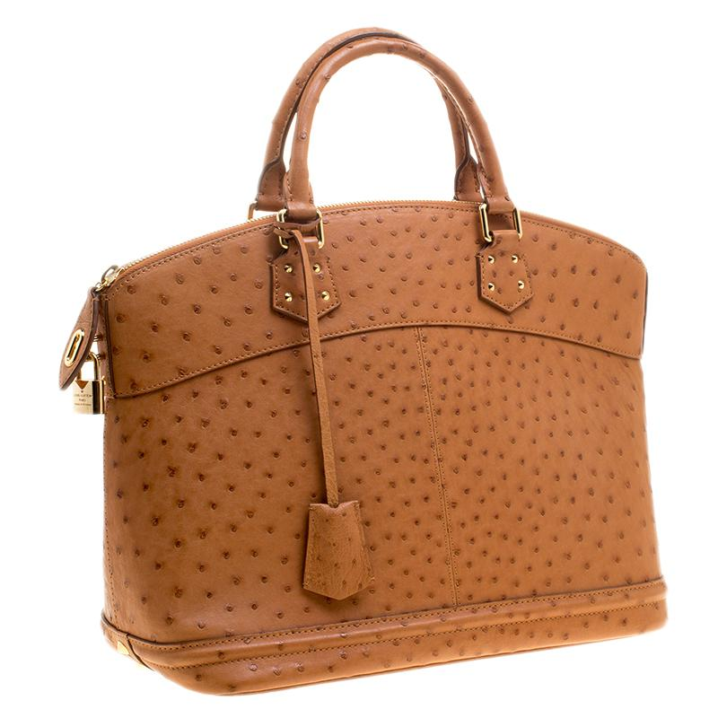 150529c21a80 Lyst - Louis Vuitton Cognac Ostrich Limited Edition Lockit Mm Bag in ...