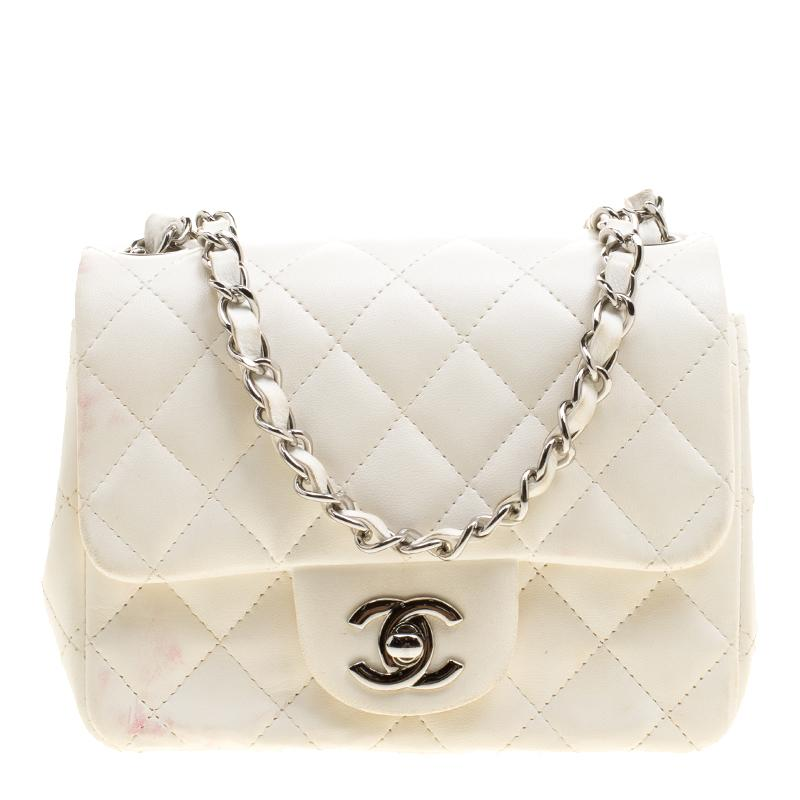 6aeb4897fac4 Chanel White Quilted Leather Mini Classic Single Flap Bag in White ...