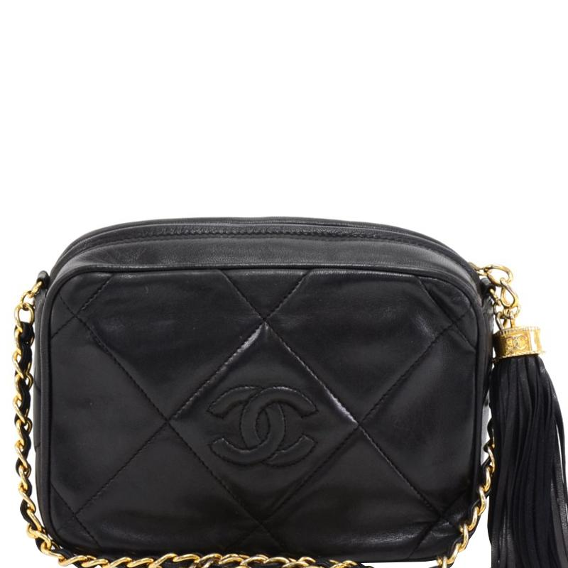 79b7a684016b Chanel. Women's Black Quilted Leather Vintage Cc Tassel Crossbody Bag