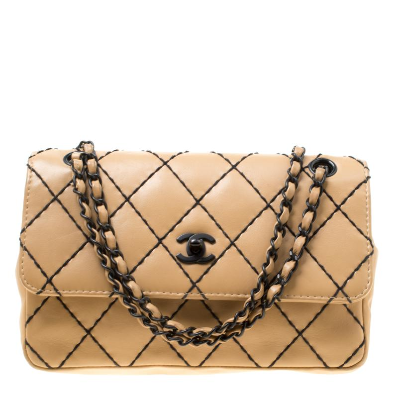 a03a2716a855 Chanel. Women's Natural Beige Quilted Leather Wild Stitch Surpique Flap Bag
