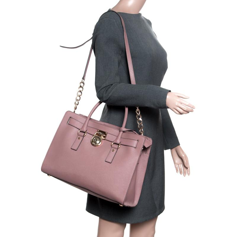 87dd154dc92c MICHAEL Michael Kors - Pale Pink Leather East West Hamilton Top Handle Bag  - Lyst. View fullscreen