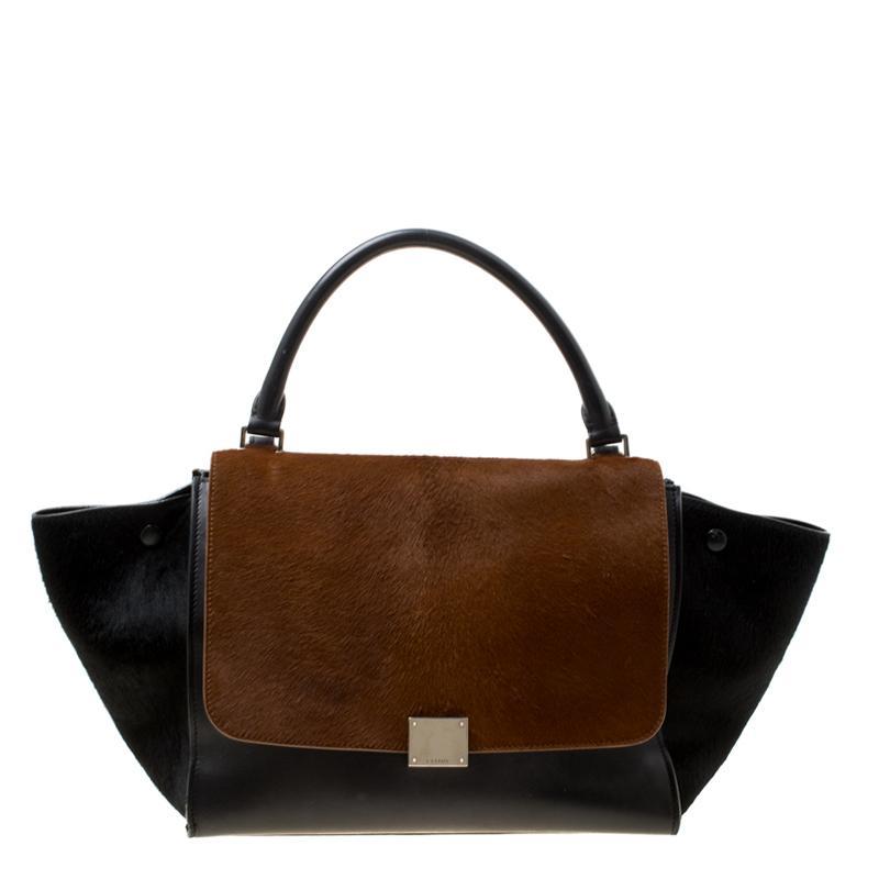 Céline  brown Calf Hair And Leather Medium Trapeze Bag in Black - Lyst 3364c3f9a9230
