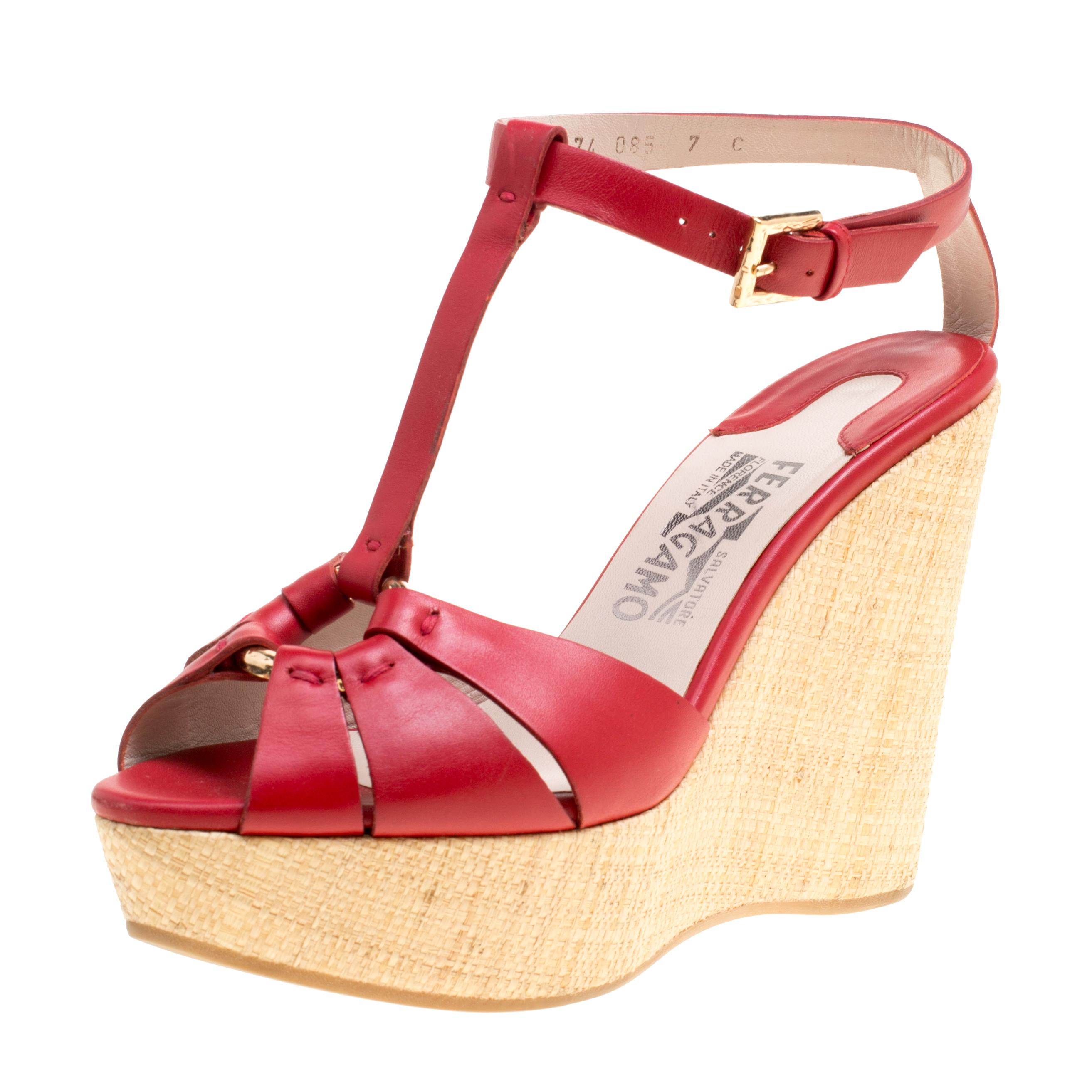 651e4a8c6d7d Lyst - Ferragamo Leather T-strap Platform Wedge Sandals in Red